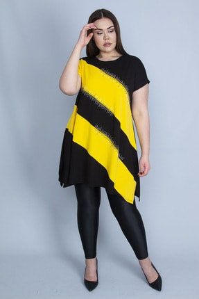 Şans Kadın Sarı Renk Kombinli Taş Detaylı Tunik 65N23129