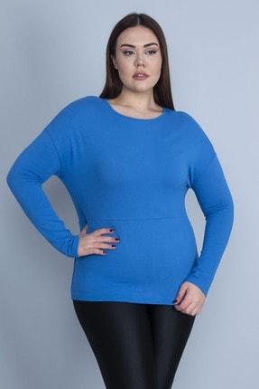 Şans Kadın Mavi Kendinden Desenli Uzun Kollu Bluz 65N23049