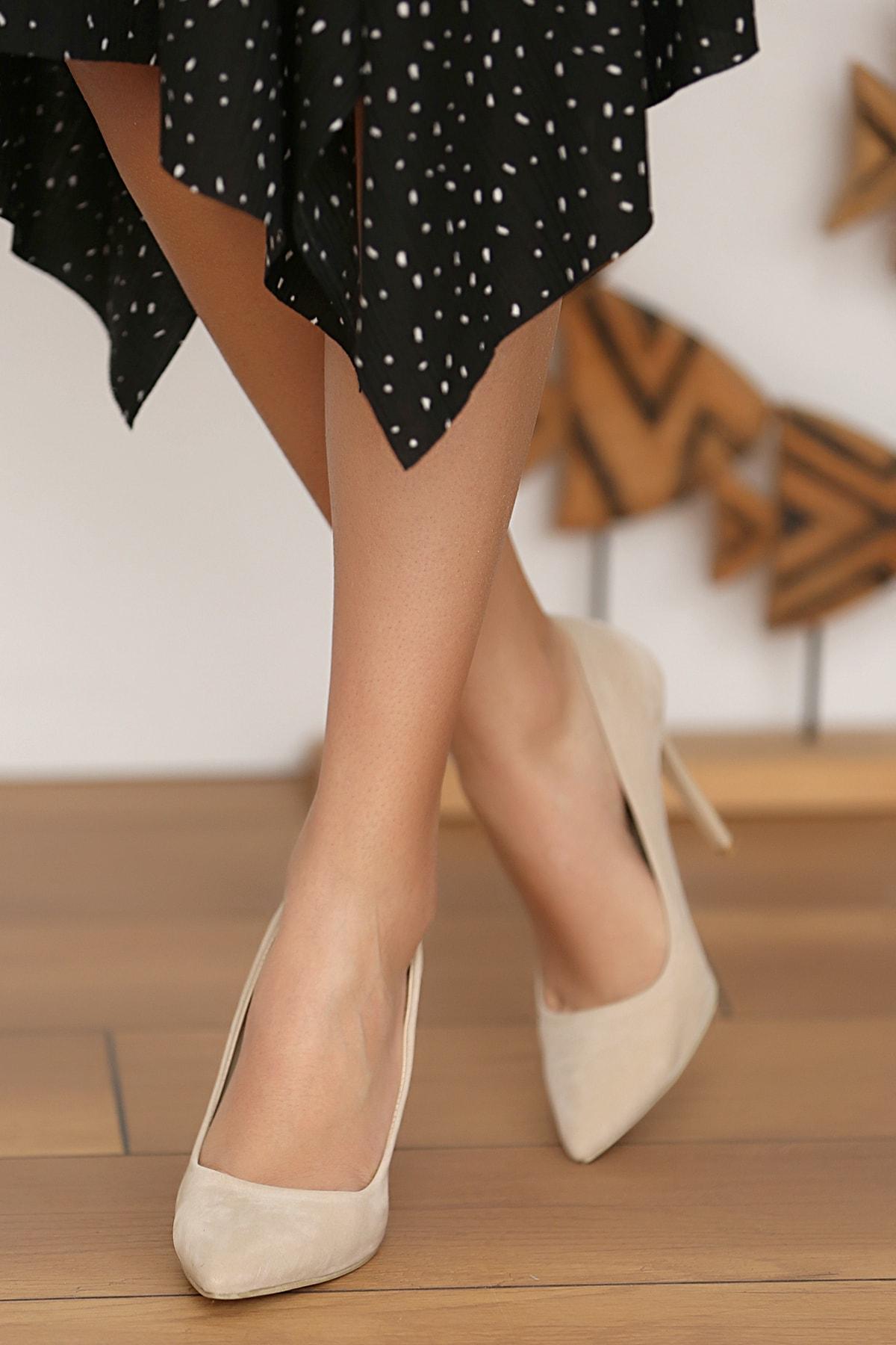 Pembe Potin Bej Kadın Topuklu Ayakkabı A1770-17 2