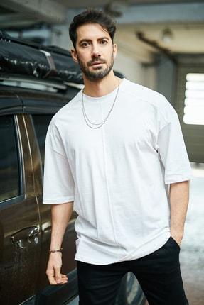 Sateen Men Erkek Ekru Dikişli T-Shirt