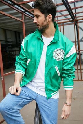 Sateen Men Erkek Yeşil Kolej Mevsimlik Mont