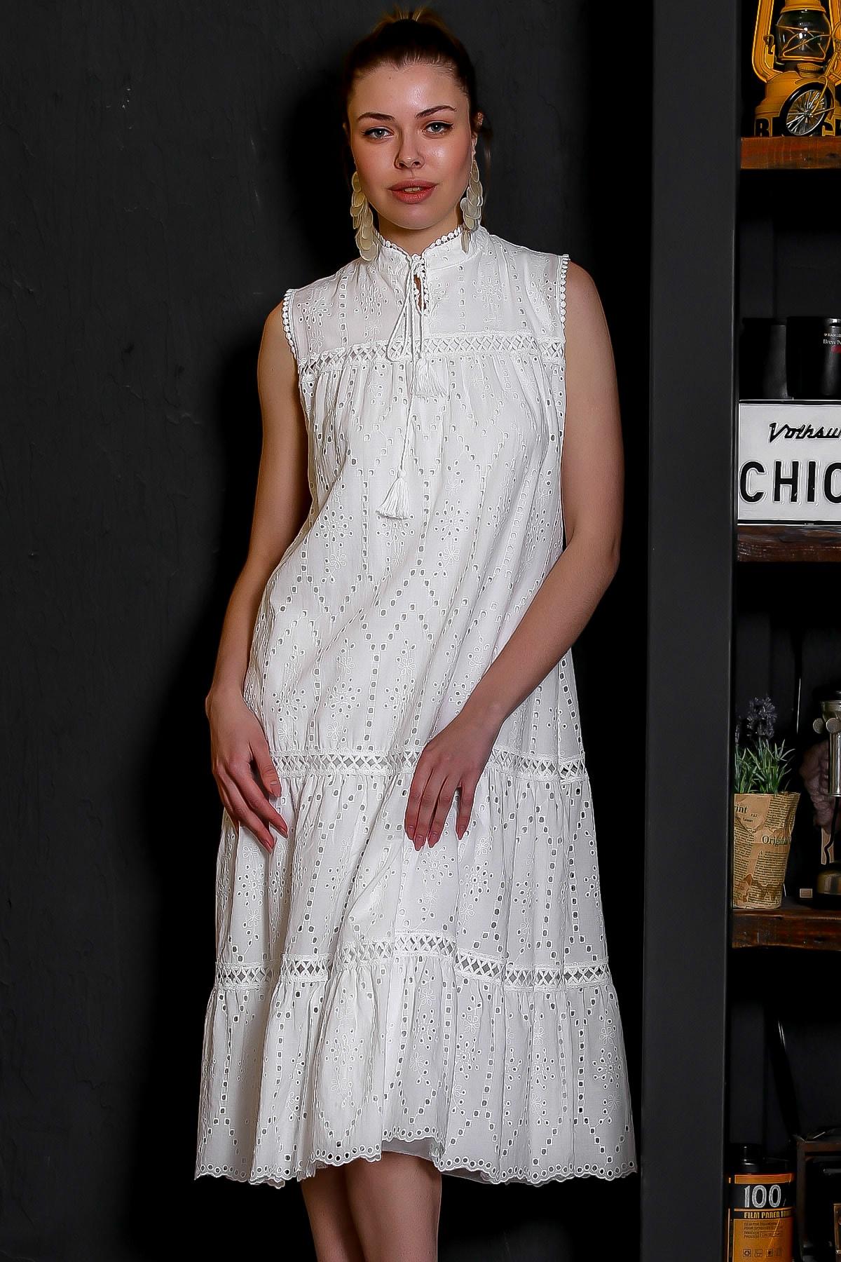 Chiccy Kadın Beyaz Fisto Kumaş Hakim Yaka Kolsuz Astarlı Uzun Elbise M10160000EL95386