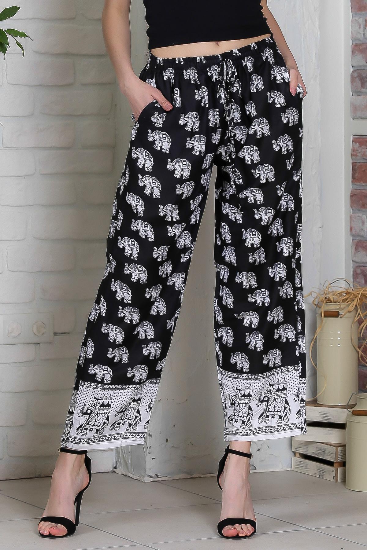 Chiccy Kadın Siyah Fil Desenli Cep Detaylı Dokuma Pantolon M10060000PN98900
