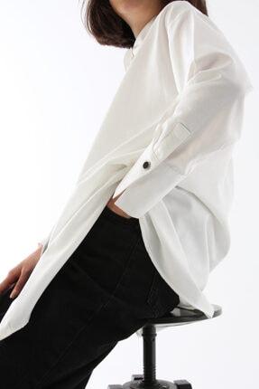 ALLDAY Kadın Ekru Gizli Patlı Pamuklu Gömlek Tunik