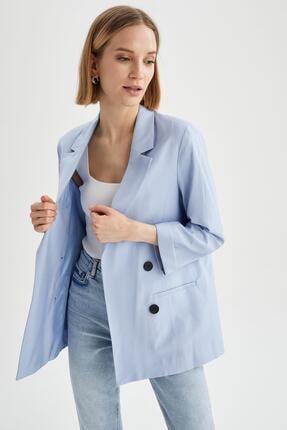 DeFacto Kadın Mavi Oversize Fit Blazer Ceket