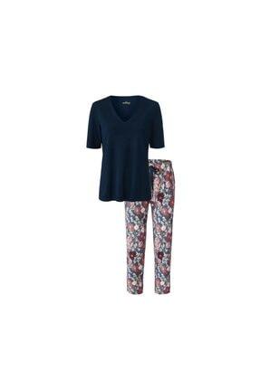 Tchibo Kadın Lacivert Organik Pamuklu Pijama Takımı
