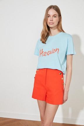 TRENDYOLMİLLA Mavi Baskılı Semi-Fitted Örme T-Shirt TWOSS20TS0218