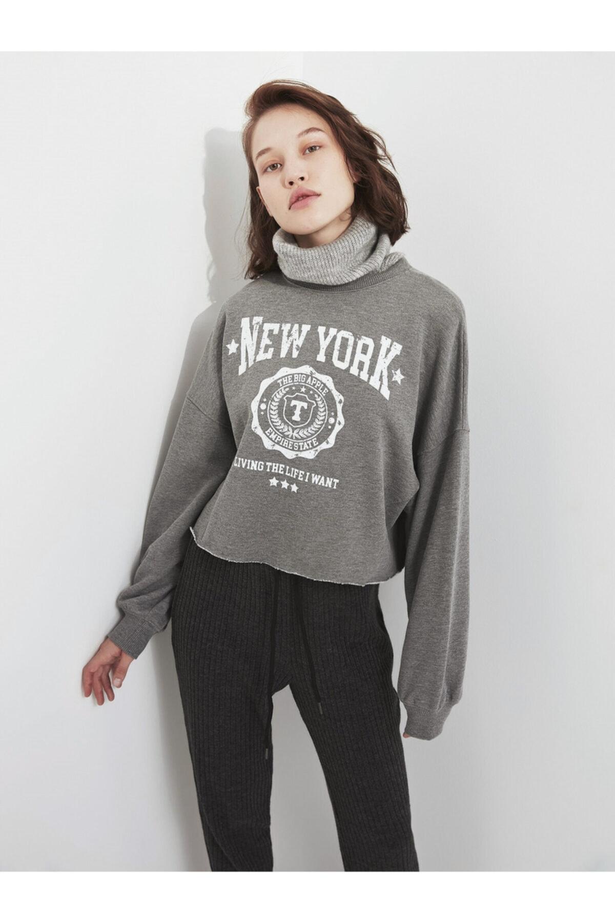 Twist Slogan Baskılı Sweatshirt 2