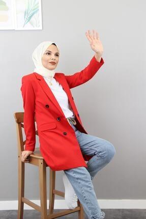 Moda Bu Kadın Kırmızı Tesettür Bilekleri Düğme Detaylı Cep Görünümlü Midi Boy Krep Kumaş Blazer Ceket