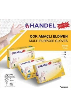 HANDEL 3 Paket 100 Lü Pudrasız Eldiven Şeffaf(BEYAZ) S-m-l Anti Alerjikdir /lateks Değildir.