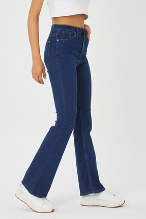 VAV Kadın Mavi İspanyol Paça Kot Pantolon