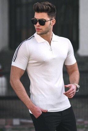 Madmext Erkek Beyaz Polo Yaka Triko T-shirt 5084
