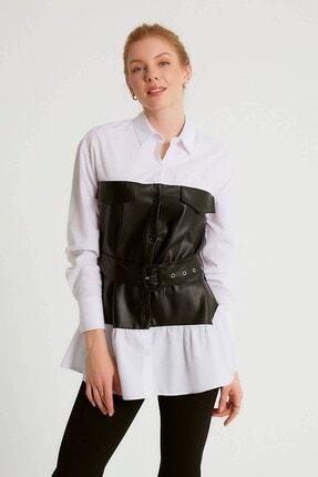 Robin Deri Detaylı Kemerli Tunik Siyah
