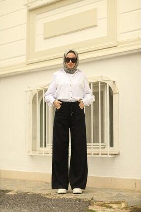 Neways Kadın Mavi Siyah Belden Bağcıklı Pantolon