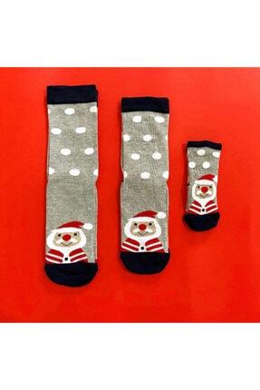 Çorap Çekmecesi Anne Baba Bebek Çorap Kombini Noel Gri