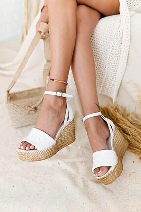 Limoya Kadın Beyaz Örgü Bantlı Dolgu Topuklu Sandalet