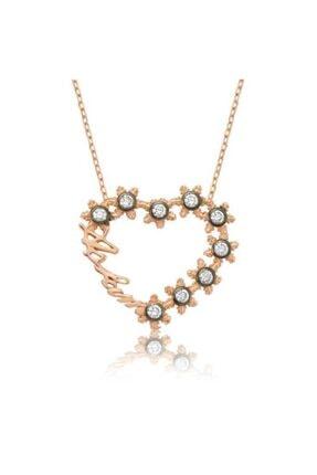 Gumush Gümüş Aşkım Yazılı Kalpli Bayan Kolye