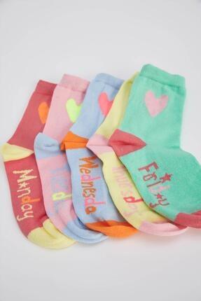 DeFacto Kız Çocuk Kalp Desenli 5'li Kısa Çorap