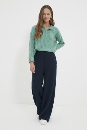 Trendyol Modest Lacivert Yüksek Bel Geniş Paça Pantolon TCTAW22TP0023