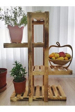 HM Ahşap Home Doğal Ahşap Dekoratif Balkon Bahçe Çiçeklik Saksı Standı Saksılık 90 Cm X 65 Cm