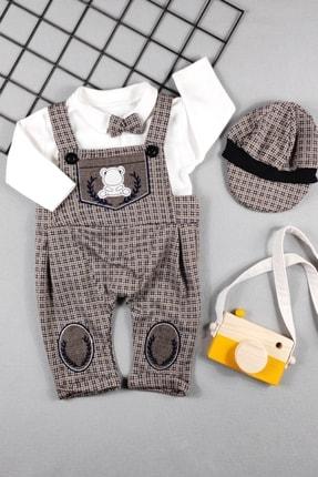 ADABEBEK Erkek Bebek Papyonlu Kasketli Bahçıvan Salopet Takım