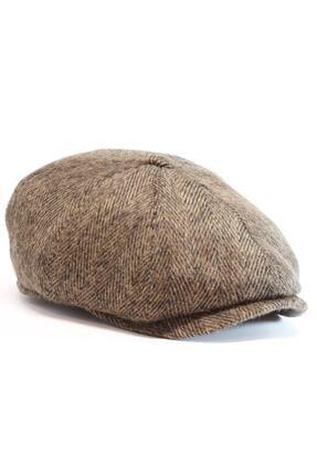 Armalı Şapka Erkek Kahverengi Kaşmir Ingiliz Model Kasket Şapka