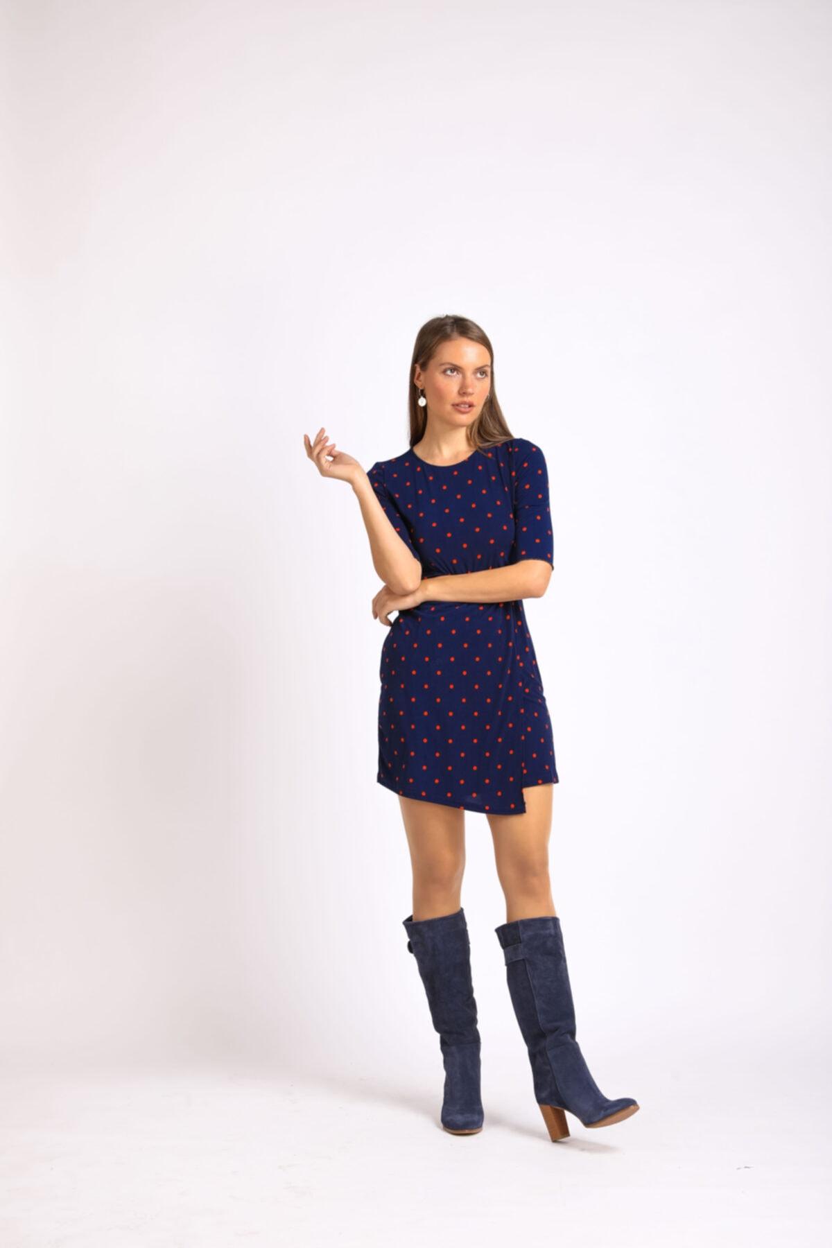 Masish Kadın Lacivert Topuklu Hakiki Deri Çizme 1