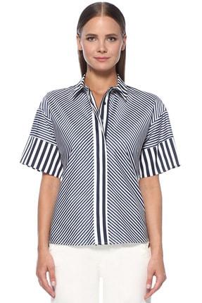 Network Kadın Beyaz Lacivert Gömlek 1073813
