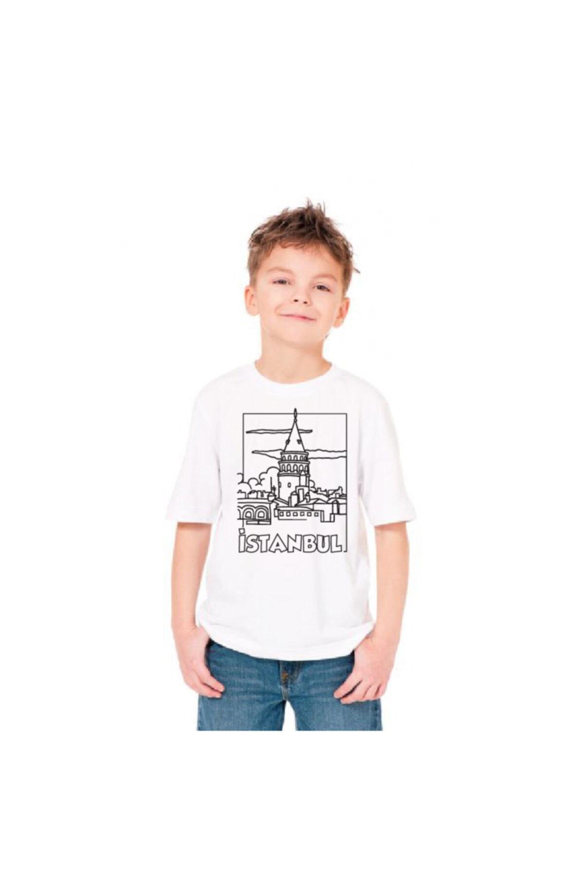 paint-wear Galata Kulesi Boyama T-shirt 9-11 Yaş 2