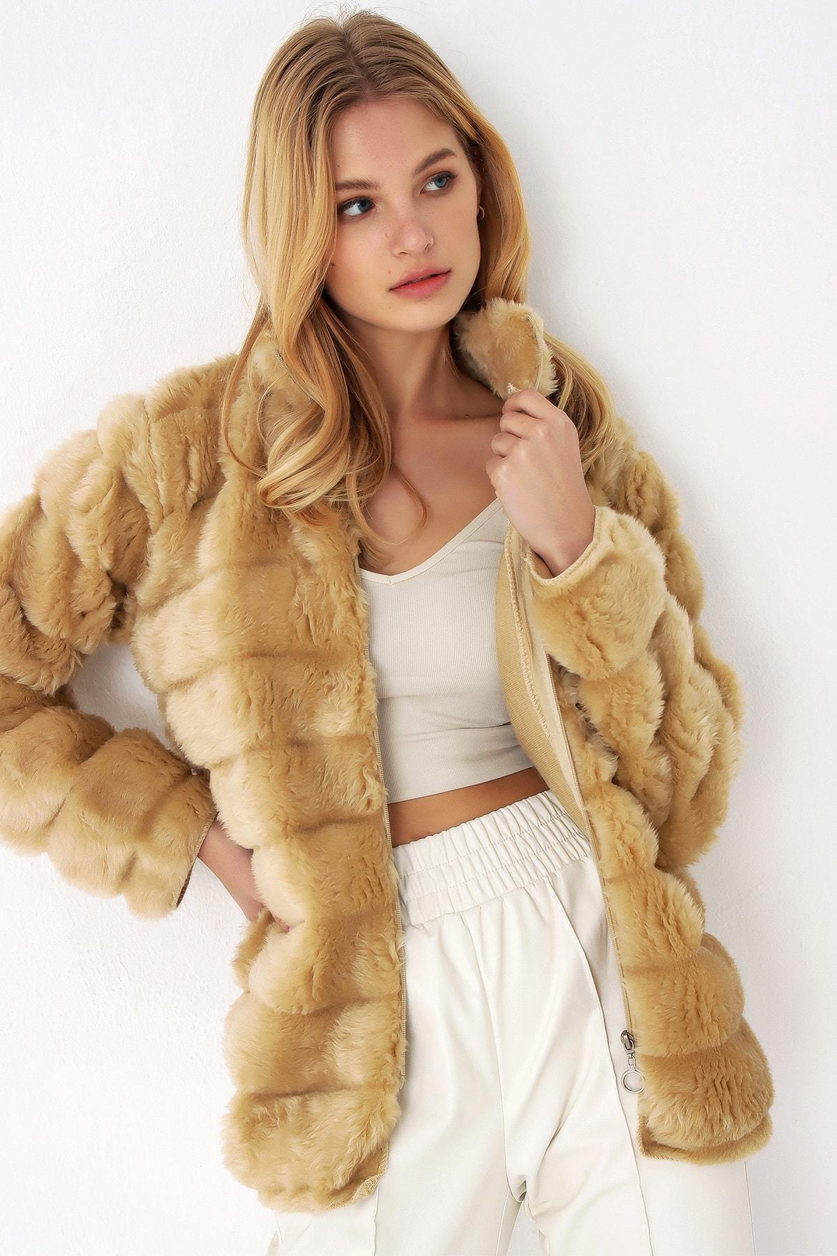 Trend Alaçatı Stili Kadın Camel Peluş Suni Kürk Ceket 2