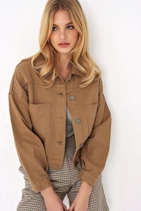 Trend Alaçatı Stili Kadın Koyu Bej Crop Denım Ceket