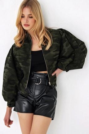 Trend Alaçatı Stili Kadın Haki Polo Yaka Denım Ceket