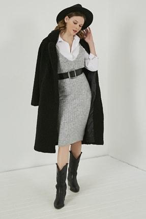 Sateen Kadın Gri Midi Askılı Triko Elbise  STN220TR338