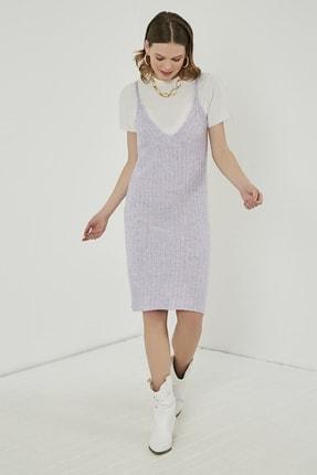 Sateen Kadın Lila Midi Askılı Triko Elbise  STN220TR338