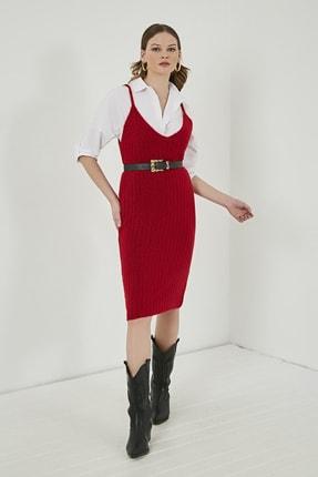 Sateen Kadın Kırmızı Midi Askılı Triko Elbise  STN220TR338