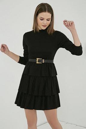 Sateen Kadın Siyah Uzun Kol Kat Detay Kısa Elbise
