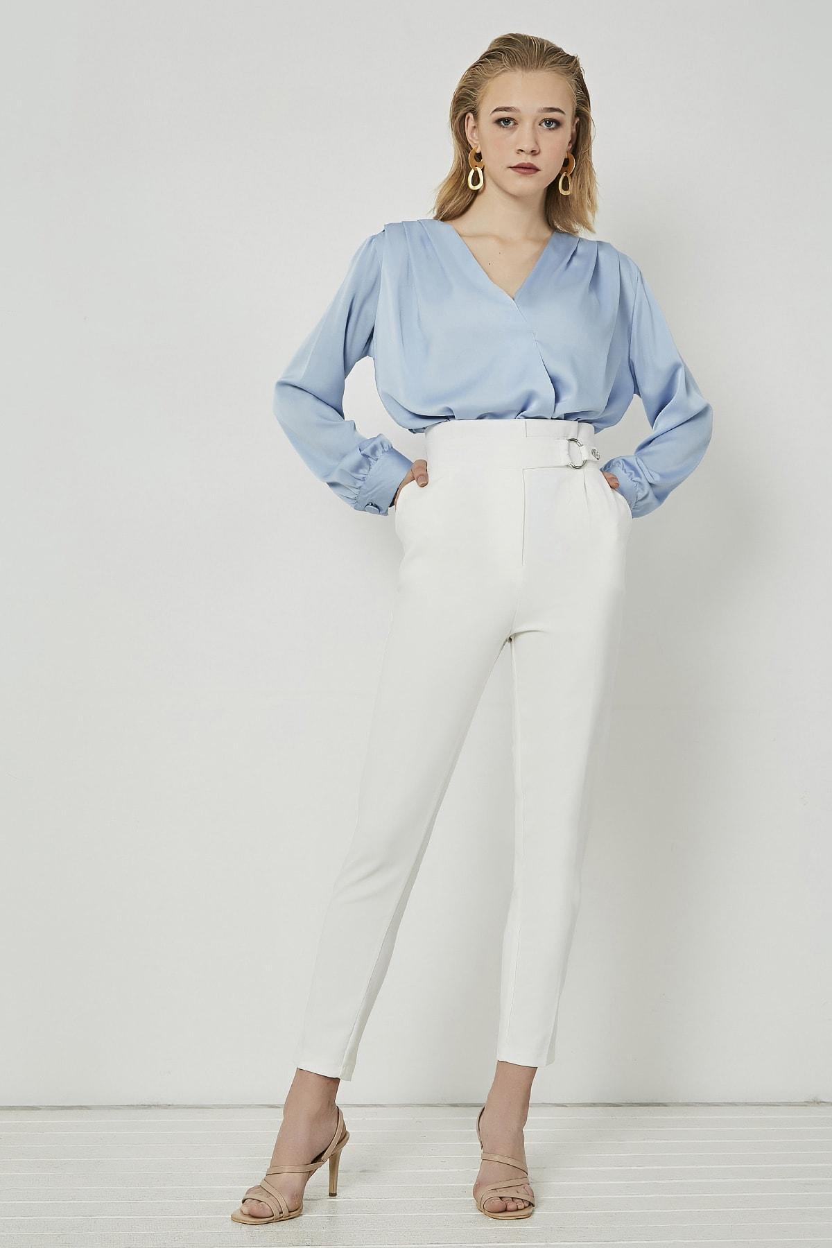 Sateen Kadın Ekru Halka Kemerli Yüksek Bel Pantolon 1