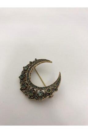 Zirkoncu Kadın Metalik Elmas Montür Taşlı Ay Yıldız Broş