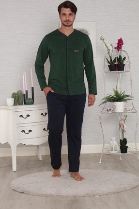 Pelin  Haki Önden Düğmeli Uzun Kollu 4 Mevsim Erkek Pijama Takımı