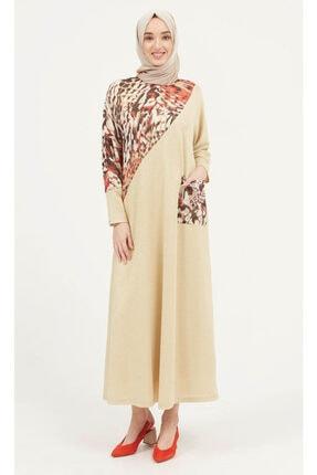 Setrms Kadın Gold Renk Leopar Desenli Örme Elbise