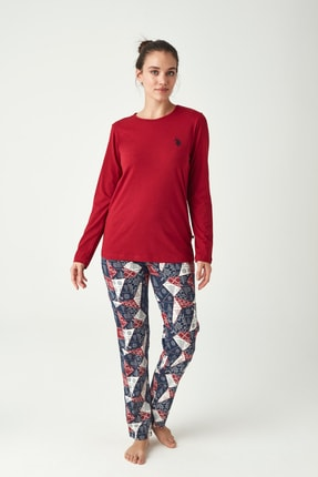 U.S. Polo Assn. Kadın Bordo Pijama Takımı