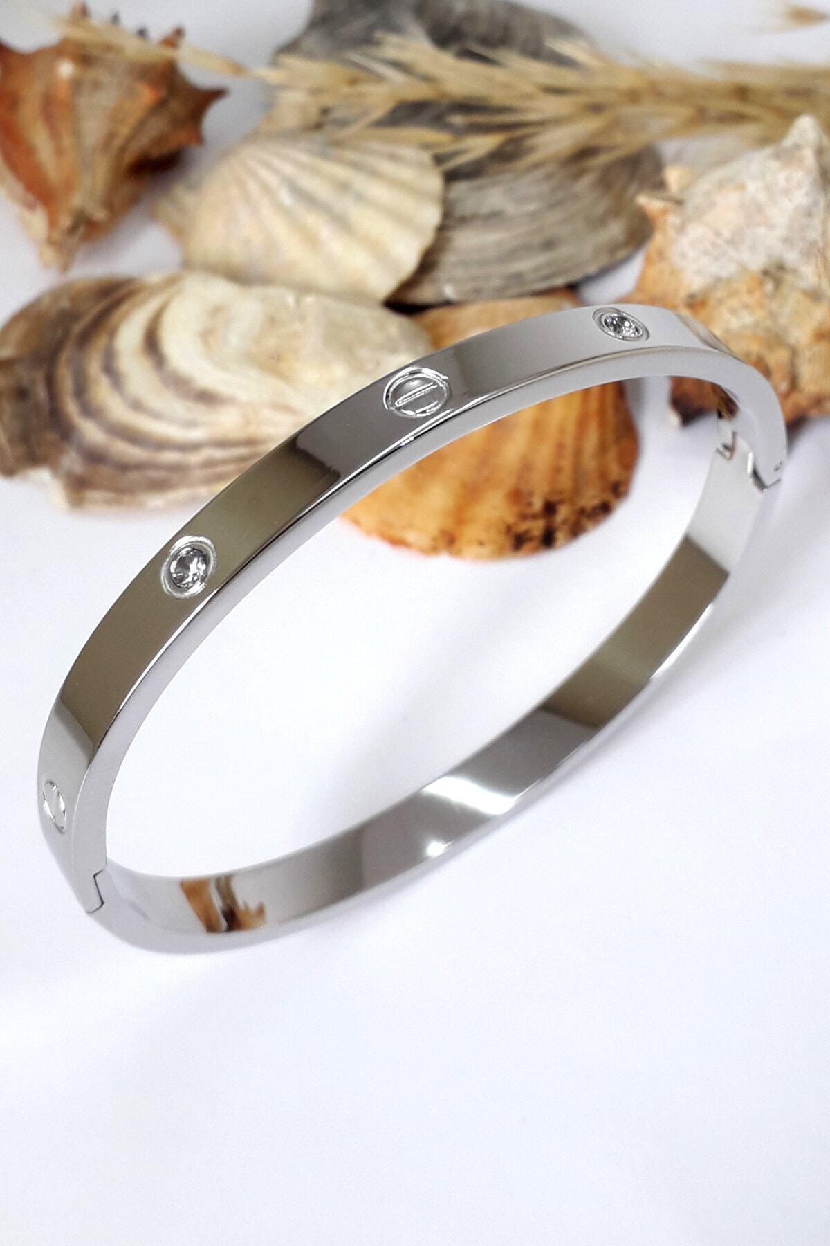 Bin1Gecem Takı Kadın Gümüş Renkli Zirkon Taşlı Paslanmaz Çelik Cartier Bileklik 18 cm 2