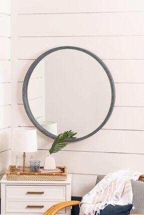 bluecape Doğal Ağaç Masif 60cm Kül Gri Çerçeveli Antre Koridor Duvar Salon Banyo Ofis Çocuk Yatak Odası Ayna