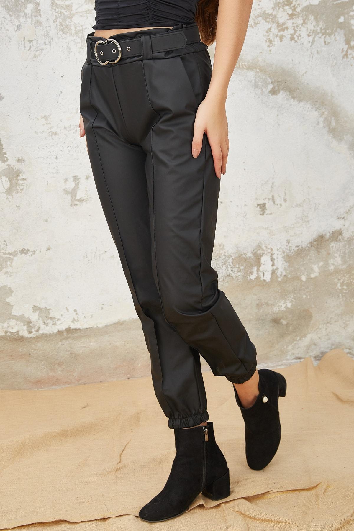 Orjinshop Kadın Siyah Polarlı Kemerli Jogger Suni Deri Pantolon 2