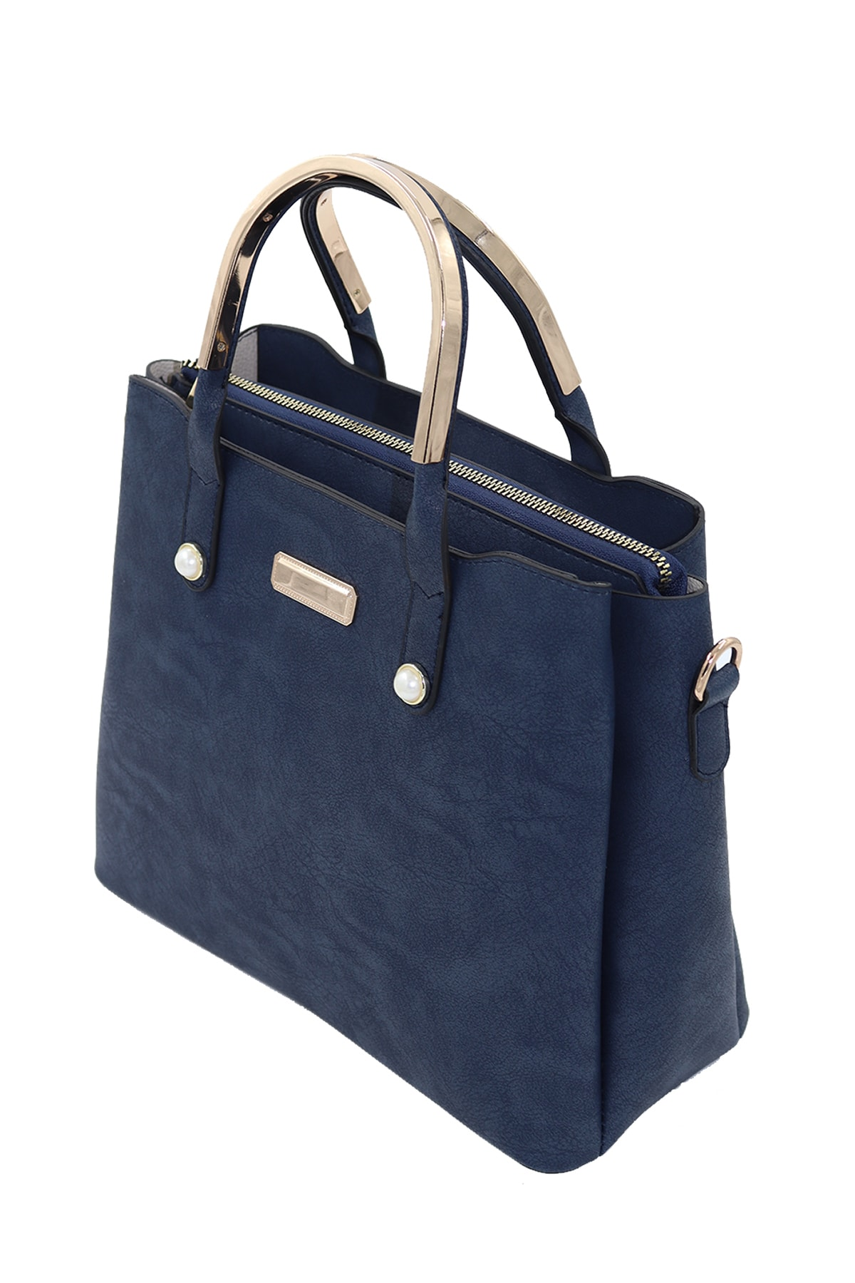 SheBella Bags & Shoes Cefalu Üç Bölmeli Inci Detaylı Metal Tutma Saplı Lacivert Renk Kadın Kol / Omuz Çantası 1