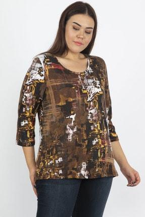 Şans Kadın Kahve Kapri Kol Desenli Bluz 65N19926