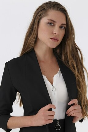 Jument Kadın Siyah Jolly V Yaka Flato Cepli Capri Kol Ceket
