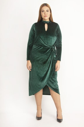 Şans Kadın Yeşil Yaka Ve Ön Detaylı Etk Kısmı Anvelop Simli İnci Kadife Elbise 65N20133