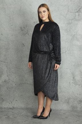 Şans Kadın Siyah Yaka Ve Ön Detaylı Etk Kısmı Anvelop Simli İnci Kadife Elbise 65N20133