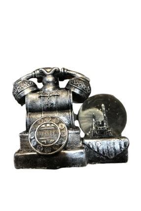 ALPİNEVOFİS Gri Polyester Antika Telefon Kar Küresi Retro Ofis Biblo Aksesuar Dekoratif